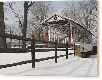 Dr Knisely Covered Bridge Wood Print by Dan Myers