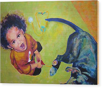 Dr. Nana And The Blue Dog Wood Print by Jodie Marie Anne Richardson Traugott          aka jm-ART