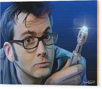 Dr. Who Wood Print by Brett Hardin