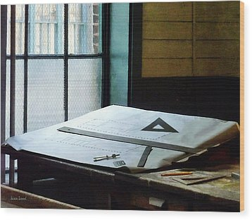 Drafting - Triangle Ruler And Compass Wood Print by Susan Savad
