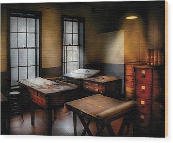 Draftsman - The Drafting Room Wood Print by Mike Savad