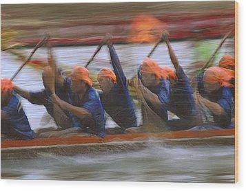 Dragon Boat Racing Thailand Wood Print