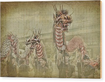 Dragon Festival Wood Print by Karen Walzer