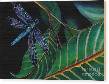 Dragon Fly Soaring - Botanical Wood Print by Grace Liberator