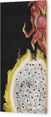 dragon fruit yellow and red Elena Yakubovich Wood Print by Elena Yakubovich