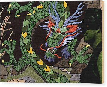 Dragon - Incognito Wood Print by Kathy Bassett
