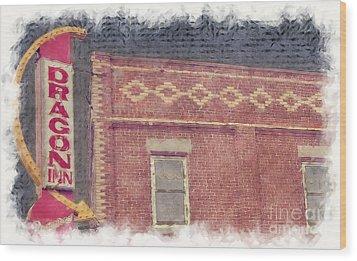 Dragon Inn Restaurant Sign Wood Print by Liane Wright