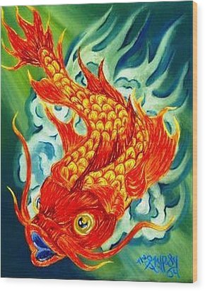 Dragon Koi Wood Print