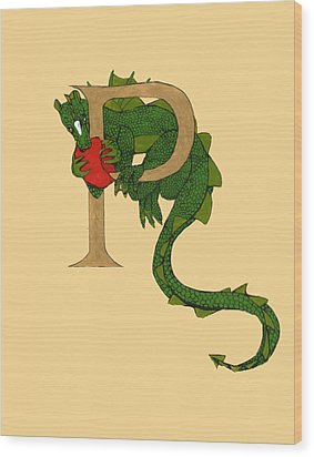 Dragon Letter P Wood Print by Donna Huntriss