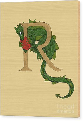 Dragon Letter R Wood Print by Donna Huntriss