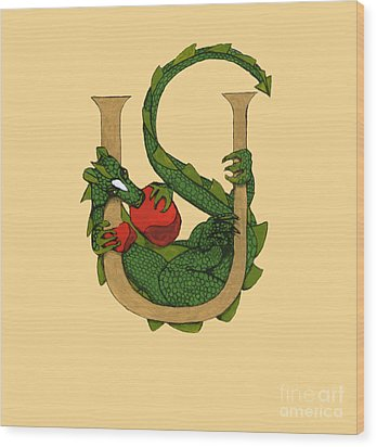 Dragon Letter U Wood Print by Donna Huntriss