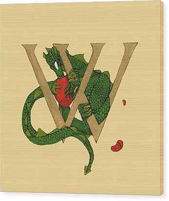 Dragon Letter W Wood Print by Donna Huntriss