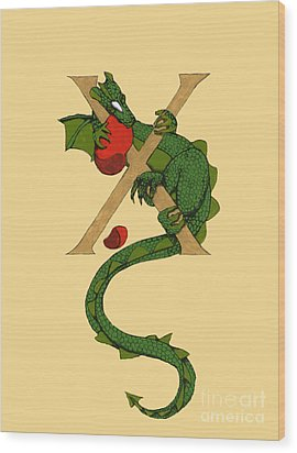 Dragon Letter X Wood Print by Donna Huntriss