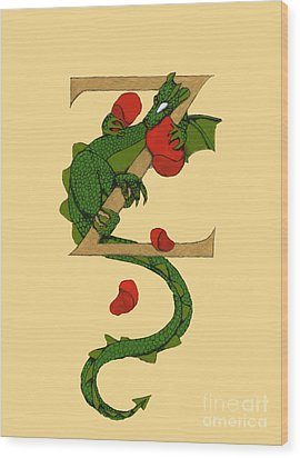 Dragon Letter Z Wood Print by Donna Huntriss