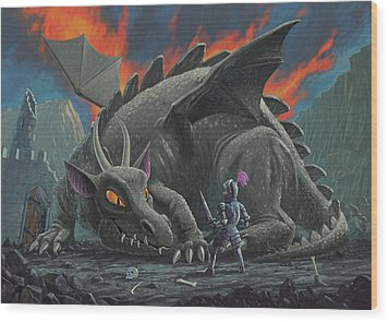Dragon Looking At Next Meal Wood Print by Martin Davey