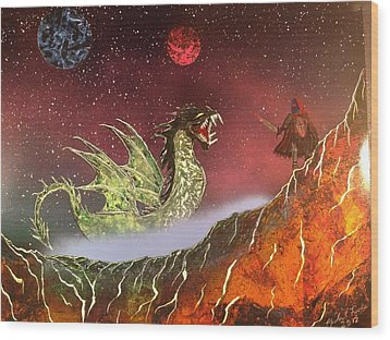 Wood Print featuring the painting Dragon by Michael Rucker