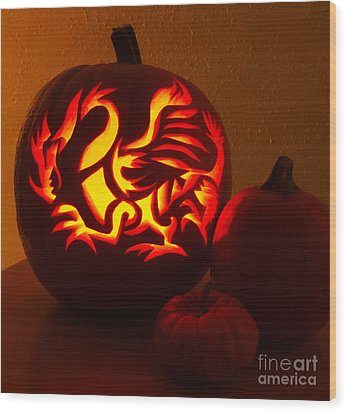 Dragon Light Of Fall Wood Print by Gem S Visionary