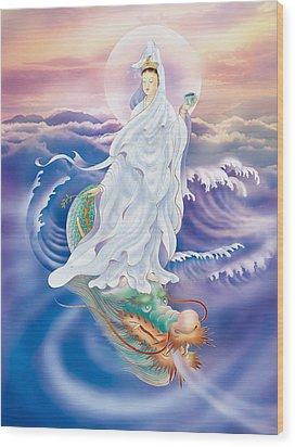 Wood Print featuring the photograph Dragon-riding Avalokitesvara  by Lanjee Chee