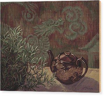 Dragon Teapot Wood Print by Jane Thorpe