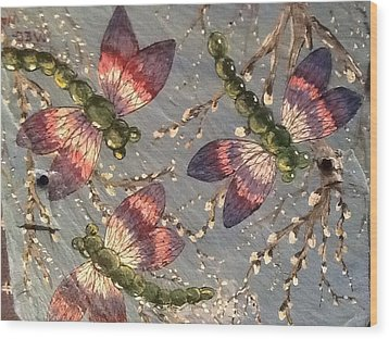 Wood Print featuring the painting Dragonflies 5 by Megan Walsh