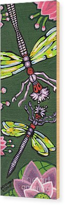 Dragonflies And Water Lilies Wood Print by Genevieve Esson