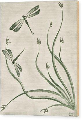 Dragonflies Wood Print by Sean Mitchell