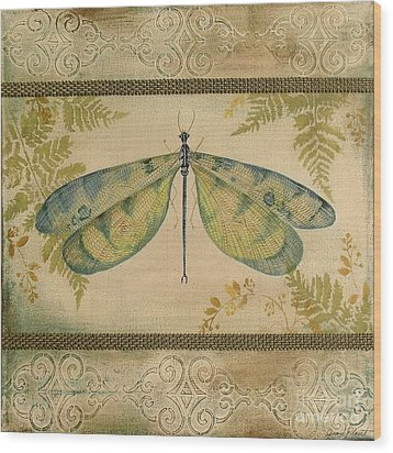 Dragonfly Among The Ferns-1 Wood Print by Jean Plout