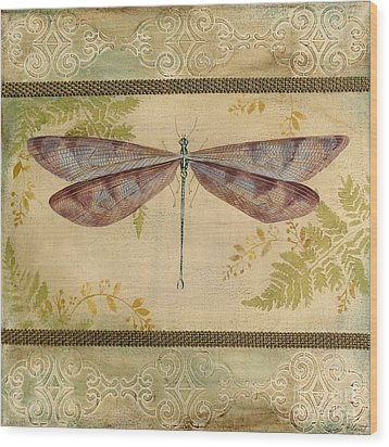 Dragonfly Among The Ferns-3 Wood Print by Jean Plout