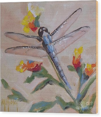 Dragonfly And Flower Wood Print