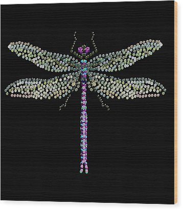 Dragonfly Bedazzled Wood Print by R  Allen Swezey