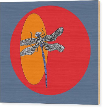 Dragonfly Wood Print by Cherie Sexsmith