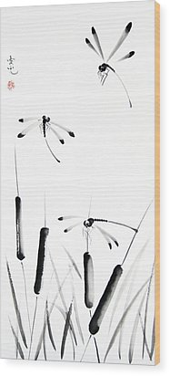 Dragonfly Dance Wood Print by Oiyee At Oystudio