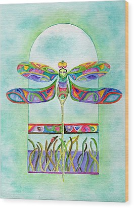 Wood Print featuring the painting Dragonfly Flight by Tamyra Crossley