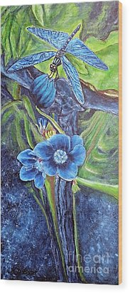 Dragonfly Hunt For Food In The Flowerhead Wood Print by Kimberlee Baxter
