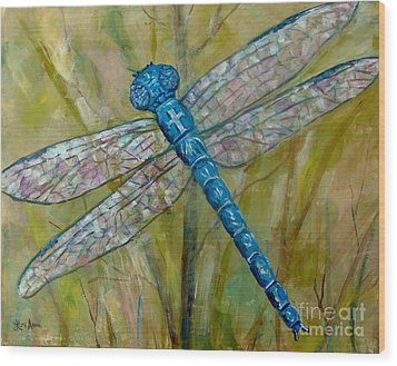 Dragonfly Wood Print by Lou Ann Bagnall