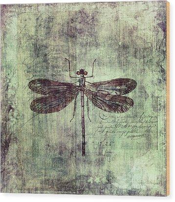 Dragonfly Wood Print by Priska Wettstein