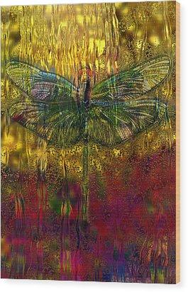 Dragonfly - Rainy Day  Wood Print by Jack Zulli