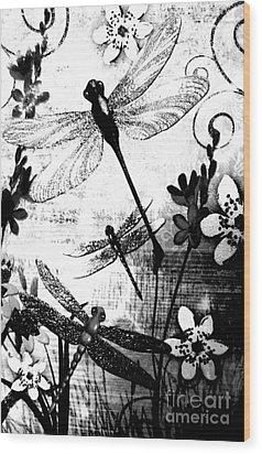 Dragonfly Wood Print by Rose Wang