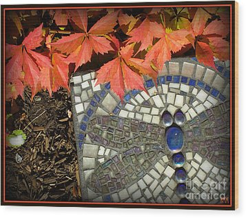Wood Print featuring the photograph Dragonfly Stepping Stone by Heidi Manly