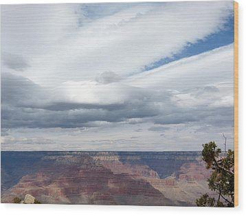 Dramatic Clouds Over The Grand Canyon Wood Print by Laurel Powell