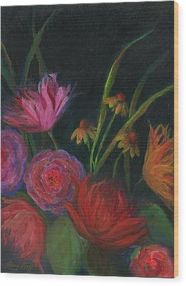 Dramatic Floral Still Life Painting Wood Print by Mary Wolf