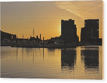 Wood Print featuring the photograph Dramatic Golden Sunrise Baltimore Inner Harbor  by Marianne Campolongo