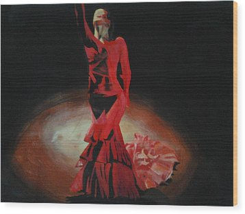 Wood Print featuring the painting Dramatic In Scarlet by Cherise Foster