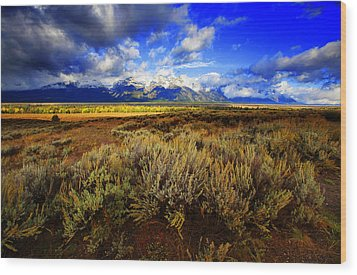 Wood Print featuring the photograph Dramatic Jackson And Salt Lake by Richard Wiggins