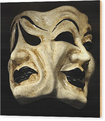 Dramatic Mask Wood Print