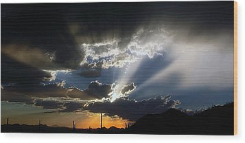 Dramatic Monsoon Sunset Wood Print by Elaine Malott