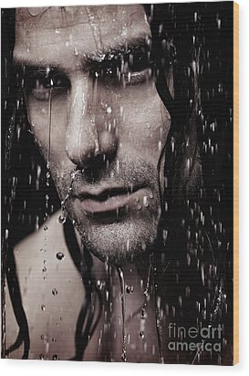 Dramatic Portrait Of Young Man Wet Face With Long Hair Wood Print by Oleksiy Maksymenko