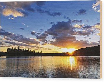 Dramatic Sunset At Lake Wood Print by Elena Elisseeva