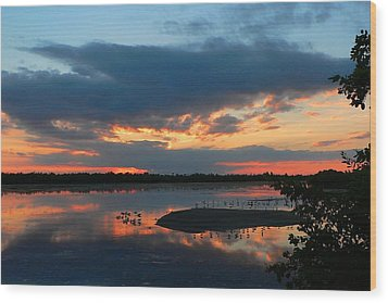 Dramatic Sunset Wood Print by Rosalie Scanlon