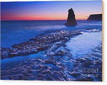 Dramatic Sunset View Of A Sea Stack In Davenport Beach Santa Cruz. Wood Print by Jamie Pham
